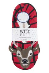 Mens 1 Pair SockShop Wild Feet Stag Tartan Slippers Product Shot