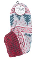 Mens 1 Pair SockShop Wild Feet Christmas Themed Knitted Bootie Slippers Packaging Image