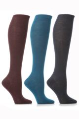 Ladies 3 Pair Elle Pearl Cotton Knee High Socks In Teal, Plum and Charcoal