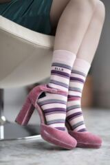 Ladies 2 Pair Elle Bamboo Striped and Plain Socks Leading Image