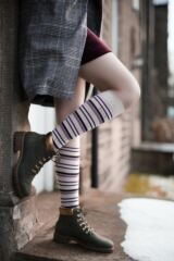 Ladies 2 Pair Elle Bamboo Striped and Plain Knee High Socks Leading Image