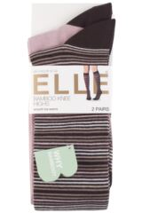 Ladies 2 Pair Elle Bamboo Striped and Plain Knee High Socks Packaging Image