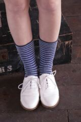 Ladies 2 Pair Elle Bamboo Feather Striped Socks Leading Image
