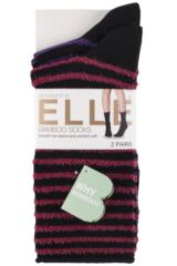 Ladies 2 Pair Elle Bamboo Feather Striped Socks Packaging Image