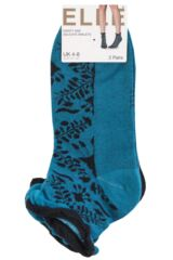 Ladies 2 Pair Elle Dainty and Delicate Floral Ankle Socks Product Shot