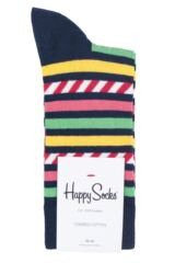 Mens and Ladies 1 Pair Happy Socks Stripe on Stripe Combed Cotton Socks Packaging Image