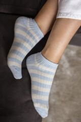 Ladies 2 Pair Elle Stripe and Cable Rib Bamboo Trainer Socks Leading Image