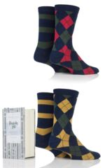 Mens 4 Pair Thought Fergus Argyle and Stripe Bamboo and Organic Cotton Socks In Gift Box