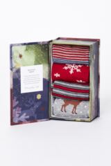 Mens 4 Pair Thought Classic Christmas Bamboo and Organic Cotton Socks Gift Box Leading Image