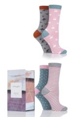 Ladies 4 Pair Thought Birds Bamboo Socks In Gift Box