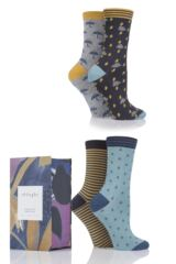 Ladies 4 Pair Thought Storm Bamboo Socks In Gift Box