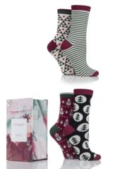 Ladies 4 Pair Thought Scandi Christmas Bamboo and Organic Cotton Socks In Gift Box