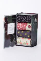 Ladies 4 Pair Thought Floral Bamboo and Organic Cotton Socks Gift Box Leading Image