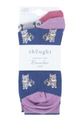 Ladies 2 Pair Thought Cat and Dog Bamboo and Organic Cotton Socks Packaging Image