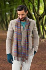 Mens and Ladies Great & British Knitwear Made In Scotland Check 100% Cashmere Scarf Packaging Image