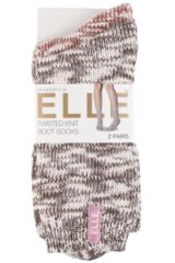 Ladies 2 Pair Elle Twisted Knit Boot Socks Product Shot
