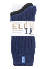 Ladies 2 Pair Elle Ribbed Boucle Boot Socks Packaging Image