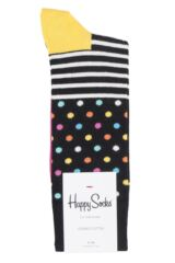 Mens and Ladies 1 Pair Happy Socks Stripes and Dots Combed Cotton Socks Packaging Image