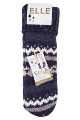 Ladies 1 Pair Elle Chunky Fair Isle Moccasin Grip Socks Product Shot