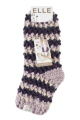 Ladies 1 Pair Elle Hand Knit Knotted Slipper Socks Packaging Image