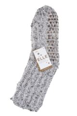 Ladies 1 Pair Elle Ribbed Feather Bootie Socks with Grip Packaging Image
