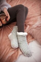 Ladies 1 Pair Elle Soft Hand Knitted Slipper Socks Leading Image