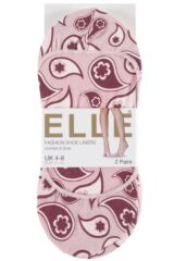 Ladies 2 Pair Elle Patterned and Plain Printed Shoe Liners Product Shot