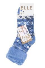 Ladies 1 Pair Elle Patterned Brushed Inside Slipper Socks Packaging Image