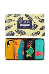 Mens and Ladies 4 Pair Moustard Sea Life Collection Gift Boxed Cotton Socks Leading Image