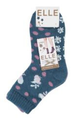 Ladies 2 Pair Elle Wool Blend Spotty Bed and Slipper Socks Packaging Image