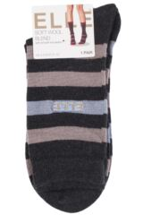 Ladies 1 Pair Elle Wool and Viscose Striped Socks Packaging Image