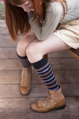 Ladies 1 Pair Elle Wool and Viscose Striped Knee High Socks Leading Image