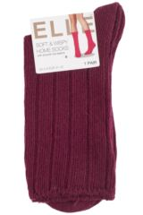 Ladies 1 Pair Elle Wool and Viscose Ribbed Bed Socks Product Shot