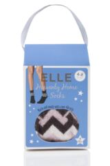 Ladies 1 Pair Elle Gift Boxed Wool Blend Zig Zag Slipper Socks Packaging Image
