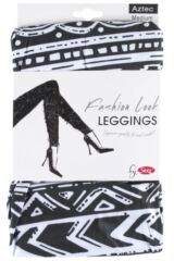 Ladies 1 Pair Silky Aztec Fair Isle Design Everyday Leggings Packaging Image