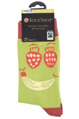 Ladies 1 Pair SockShop CAFOD Fairtrade Cotton Fruit Face Socks Packaging Image