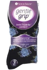 Ladies 3 Pair Gentle Grip Rose Patterned Cotton Socks Product Shot
