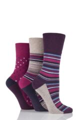 Ladies 3 Pair Gentle Grip Dotty and Striped Cotton Socks