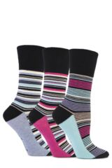 Ladies 3 Pair Gentle Grip Madeline Striped Cotton Socks