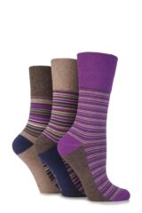 Ladies 3 Pair Gentle Grip Sarina Multi Striped Cotton Socks