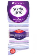 Ladies 1 Pair Gentle Grip Jane Striped Cushioned Socks Packaging Image