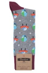 Mens 1 Pair Moustard Space Design Socks - Alien Packaging Image