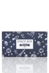 Mens 4 Pair Moustard Space Design Socks In Gift Box Packaging Image