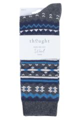 Mens 1 Pair Thought Marley Fair Isle Wool Socks Packaging Image