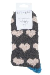 Ladies 1 Pair Thought Fluffy Heart Recycled Polyester Socks Packaging Image