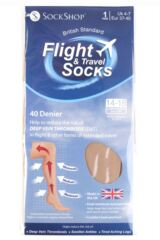 Ladies 1 Pair SOCKSHOP 40 Denier Flight and Travel Socks Packaging Image