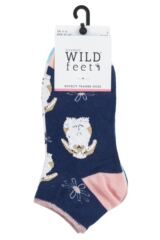 Ladies 3 Pair SockShop Wild Feet Fluffy Bunny Trainer Socks Product Shot