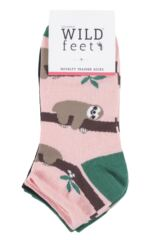 Ladies 3 Pair SockShop Wild Feet Sloth Cotton Trainer Liner Socks Packaging Image