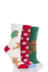 Ladies 3 Pair SockShop Wild Feet Gift Boxed Gingerbread Man Cotton Socks Leading Image