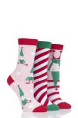 Ladies 3 Pair SOCKSHOP Wild Feet Gift Boxed Elves Cotton Socks Leading Image